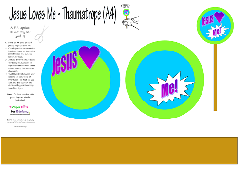 Thaumatrope with words, Jesus loves me; free printable optical illusion toy for kids