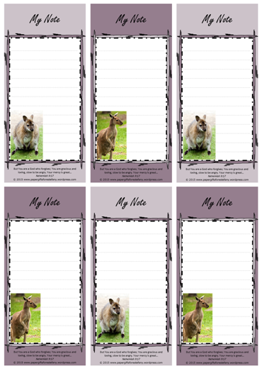 FREE Kangaroo Mini To Do List with Bible verse Nehemiah 9:17