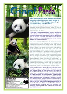 FREE PRINTABLE Panda article for kids giving glory to God as designer