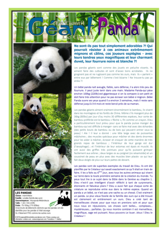 FREE PRINTABLE Panda article for kids in FRENCH giving glory to God as designer