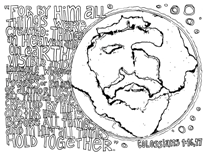 Scripture Doodle colouring page for kids Colossians 1:16-17 free printable