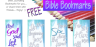 FREE Bible journal bookmarks to colour - Genesis 1; John 1; Exodus 20; Colossians 1; free printable
