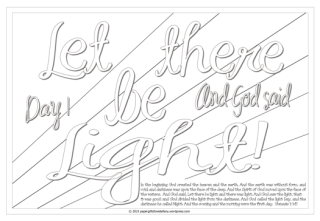 Let there be light - Scripture Doodle colouring page for kids Genesis 1:2 free printable