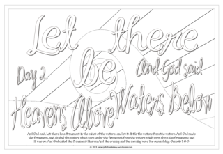 Let there be heavens above and waters below - Scripture Doodle colouring page for kids Genesis 1 free printable