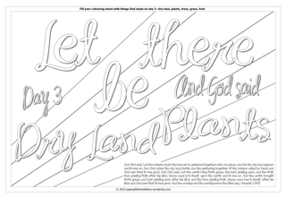Creation Day 3 - Let there be dry land, plants - Scripture Doodle colouring page for kids Genesis 1 free printable