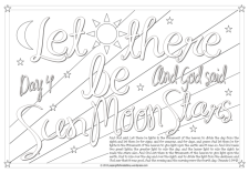 Creation Day 4 - Let there be sun, moon, stars - Scripture Doodle colouring page for kids Genesis 1 free printable