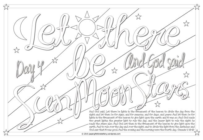 Let there be sun, moon, stars - Scripture Doodle colouring page for kids Genesis 1 free printable