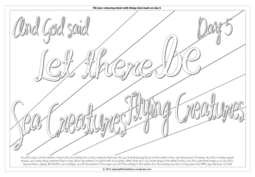 Creation Day 5 - Let there be sea creatures and flying creatures - Scripture Doodle colouring page for kids Genesis 1 free printable