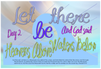 Let there be heavens above, waters below - Creation Day 2 free printable Bible poster for kids
