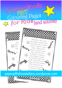 Scripture Doodle colouring page for kids Philippians 2:10-11 free printable