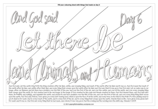 Creation Day 6 Scripture doodle Bible colouring page; free printable