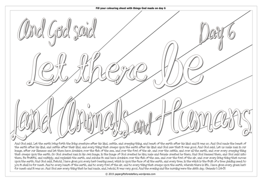 Creation Day 6 - Let there be land animals - Scripture Doodle colouring page for kids Genesis 1 free printable