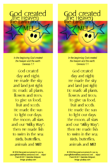 photo regarding God Made Me Free Printable referred to as PGFE Output Poem Bookmark Paper Presents for Estefany