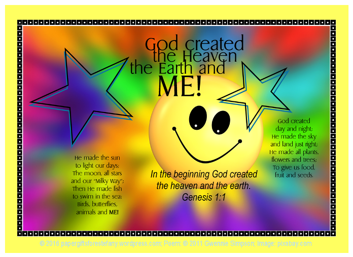 God made me - FREE Bible poster, bookmark, wallet cards, note cards, stationery for kids; free printable