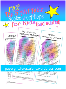 FREE Giant bookmark of hope with compilation of Bible verses; watercolour background; free printable
