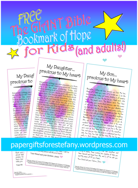 FREE The Giant Bible Bookmark of Hope for Kids and Adults; with compilation of Bible verses; watercolour background; free printable