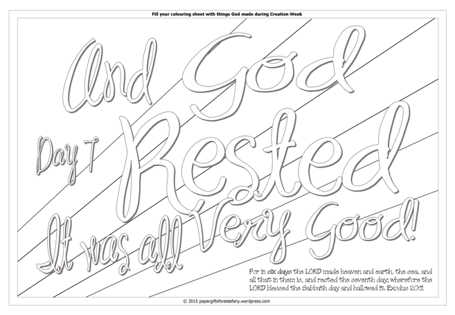 God takes a Rest - Creation Day 7 free printable Bible colouring page for kids
