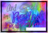 God takes a Rest - Creation Day 7 free printable Bible poster for kids