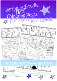 FREE Scripture doodle Bible colouring page - Greater is He that is in us - 1 John 4:4 and 2 Kings 6:16; free printable