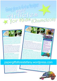 Chameleon article for kids giving glory to God as designer; free printable