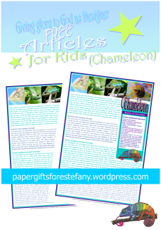 Chameleon article for kids giving glory to God as designer; free printable