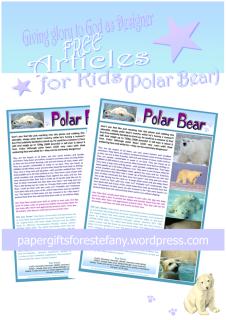 Polar Bear article for kids giving glory to God as designer; free printable