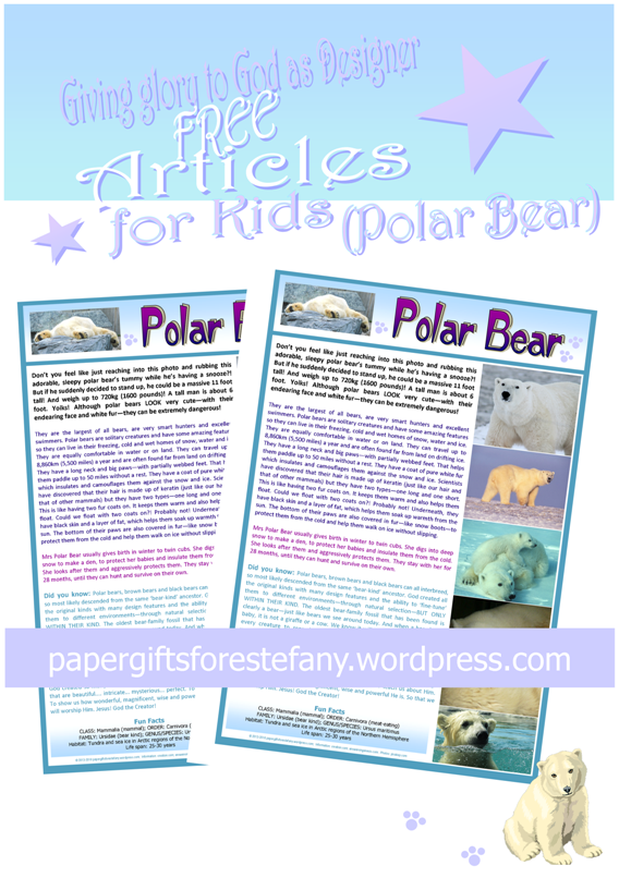 Polar Bear article for kids giving glory to God as designer; free printable