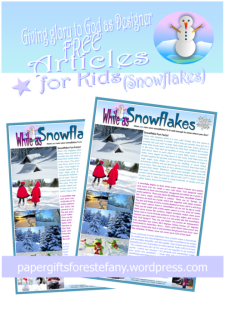 Snowflake article for kids giving glory to God as designer; free printable