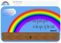 Noah's Ark Bible placemat, playset or poster for kids with rainbow and featuring Bible verses from Genesis 6:8 and Genesis 9:13; free printable