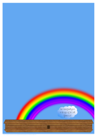 Noah's Ark Stationery for kids with rainbow and featuring Bible verse from Genesis 6:8; free printable