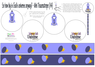 FREE Universe Mini Thaumatrope optical illusion paper toy for kids; free printable