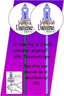 FREE Universe Mini Thaumatrope optical illusion paper toy for kids; free printable