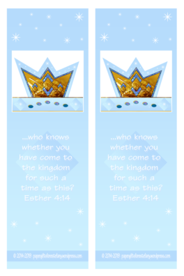 FREE Queen Esther Bible bookmarks with Bible verse from Esther 4:14; free printable
