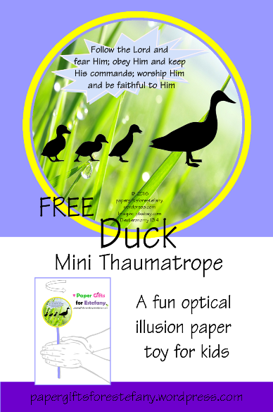 image relating to Thaumatrope Printable called Momma Duck and her adorable minimal Ducklings ~ Mini Thaumatrope