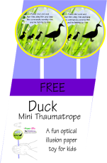 FREE Momma Duck and Cute Little Ducklings Mini Thaumatrope optical illusion spinning paper toy for kids; free printable