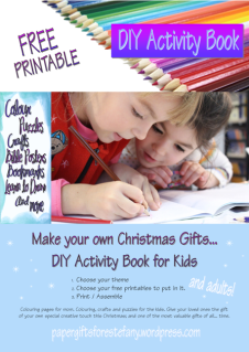 DIY Activity Book for Kids (or adults) custom made with choose your own colouring pages, puzzles, crafts, posters, bookmarks, stationery and other paper gifts; free printable