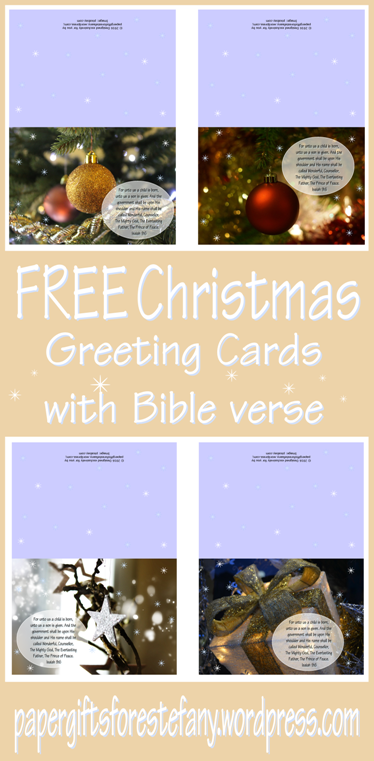 Christmas greeting cards with Bible verse from Isaiah 9:6; plus matching envelope and envelope liner; free printable