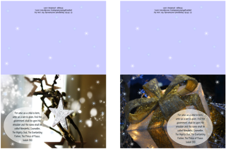 FREE Christmas Greeting Cards with Bible verse from Isaiah 9:6; star; gift; free printable