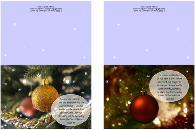 FREE Christmas Greeting Cards with Bible verse from Isaiah 9:6; baubles; free printable