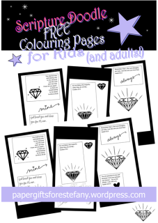 FREE Scripture doodle Bible colouring page with diamonds; Colossians 3:12; Leviticus 20:26; Exodus 23:2; Isaiah 8:13; Isaiah 43:4-5; free printable