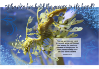 Leafy Sea Dragon - Bible Poster by Paper Gifts for Estefany with Bible verses from Isaiah 40:12 - Who else has held the oceans in His hand; and Revelation 4:11 - You are worthy, our Lord, to receive glory and honour and power, for you have created all things; and for Your pleasure they have life and were created; free printable