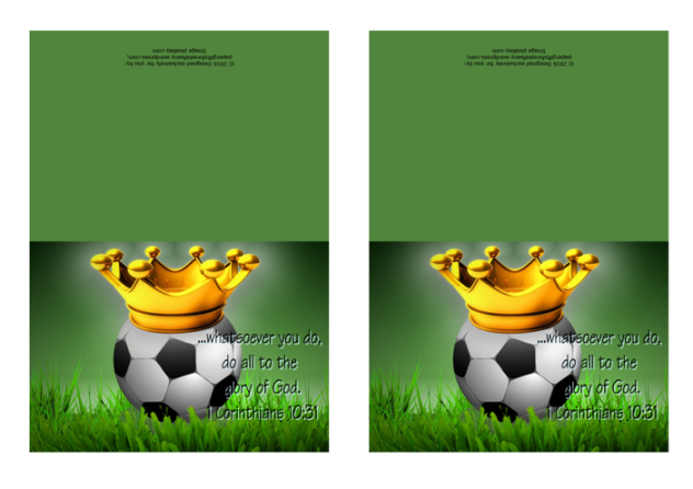 FREE Soccer note cards with Bible verse from 1 Corinthians 10:31; whatsoever you do, do all for the glory of God; soccer ball, crown, dark green background; free printable