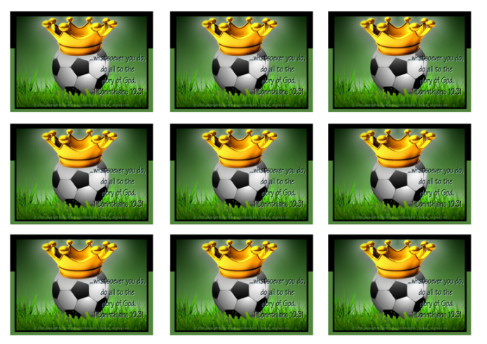 FREE Soccer wallet cards with Bible verse from 1 Corinthians 10:31; whatsoever you do, do all for the glory of God; soccer ball, crown, dark green background; free printable