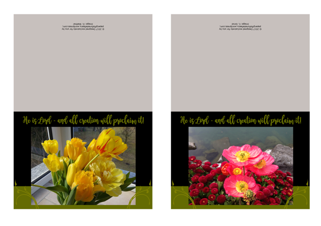FREE Spring Note Cards; He is Lord and all creation will proclaim it; pretty yellow tulips and red flowers; free printable