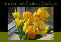 FREE Bible Poster; He is Lord and all creation will proclaim it; pretty yellow tulips; flowers; free printable