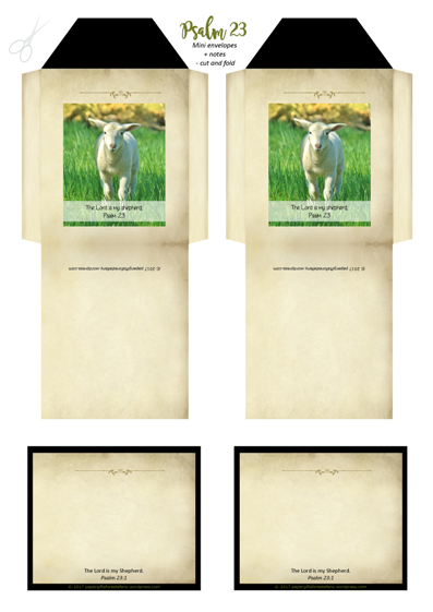 Psalm 23; Shepherd's Psalm; Mini Envelopes and Note Cards with Bible verse; free printable