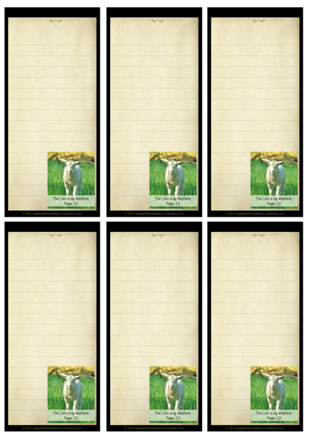 Psalm 23; Shepherd's Psalm; To Do List or Notepaper with Bible verse; free printable
