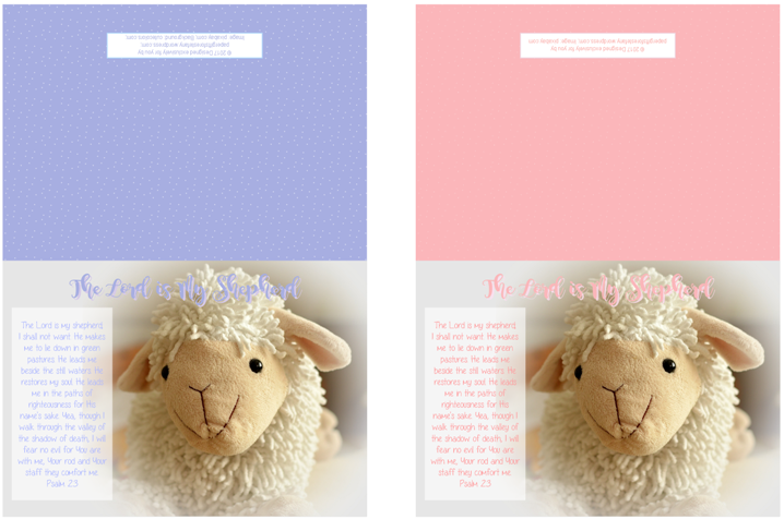 Psalm 23; Shepherd's Psalm; Bible Note Cards for younger children; free printable