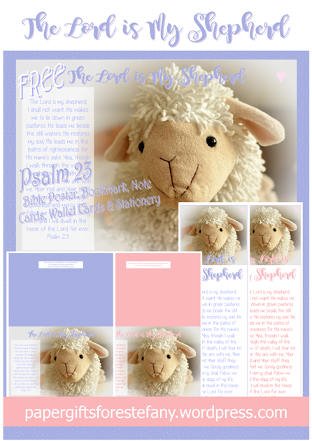 Psalm 23 Shepherd's Psalm free printables for younger children featuring a cute little lamb; free poster, bookmark, note cards, wallet cards, stationery and more