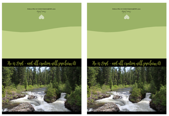 FREE Bible Note Cards; He is Lord and all creation will proclaim it; forest / water scene; free printable